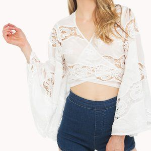 Akira Lace Bell Sleeve Tie Top NWT!